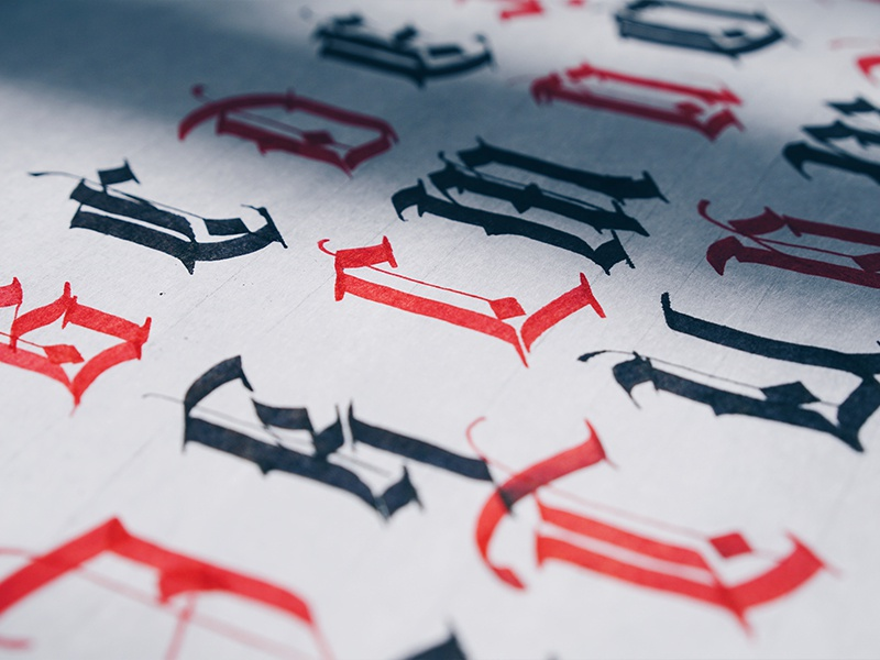 Uppercase blackletter dribbble 2