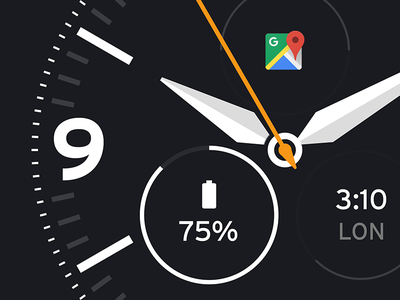 Go wearable watch ui time clock flat material design android close up watch face android wear google