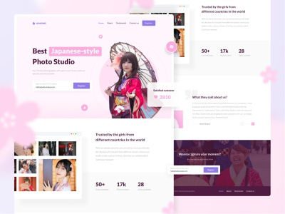 Kimone: A Japanese-style photo studio landing page japanese girl japanese style photography landing page photo studio soft pastel photography website kimono photography landing page landingpage pink girly girls japanese japan cute ux ui
