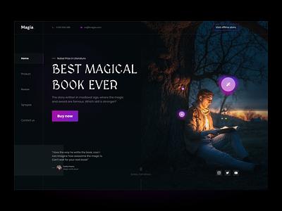 Magia: A magical book-selling homepage interface clean ui design glowing web clean simple design colorful hero purple black uiux dark glow book magic homepage landing page ux ui