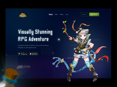Seven Knights - mobile RPG adventure game (hero section) character mobile game clean layout website uiux dark mode black hero section adventure rpg web mobile glow in the dark glow colorful landing page ux ui game