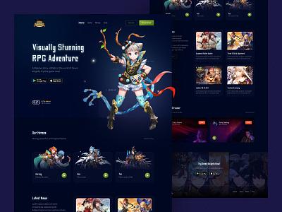 Seven Knights - mobile RPG adventure game ⚔️🧙🏻♂️ popular trend modern black colorful adventure dark mode uiux website layout futuristic rpg game glow in the dark glow web clean landing page ux ui