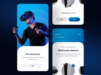 Game consoles mobile app 🎮 ios onboarding store xbox ps5 console colorful clean user interface glowing game glow in the dark glow dark mode dark virtual reality device mobile app mobile ui