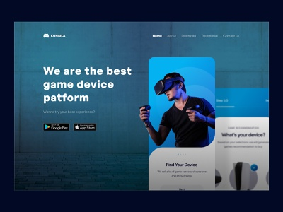 Game consoles landing page 🎮 sport cool hero section hero landing page landing website web game device console virtual reality vr glow in the dark dark mode glow clean colorful ux ui