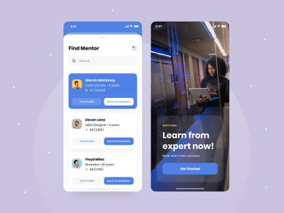 Mentor Finder 🕵️♂️ colorful shadowing course cute sweet color smooth technology front end uiux expert school app mobile app mobile ux ui mentoring learning consultation mentor