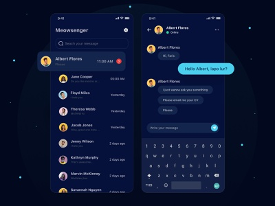 Meowsenger - a messaging app 📱 social media sns chatting colorful cool glow in the dark glow dark mode dark ux ui android ios mobile phone phone app mobile app mobile message chat