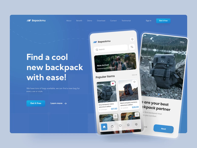 Bapackmu - a backpack store hero section 🎒 interaction online store store shopify bag marketplace adventure journey backpack landing page landingpage landing hero section hero website web animation ui glow in the dark colorful