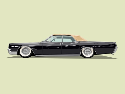 Lincoln Continental continental lincoln vintage black car graphicdesign creative design vector illustration