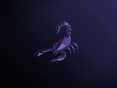Scorpion logo desing animal illustration venom glow purple vector insect scorpion