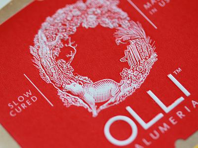 Olli Logo branding woodcut pig roger xavier olli salumeria scratchboard logo