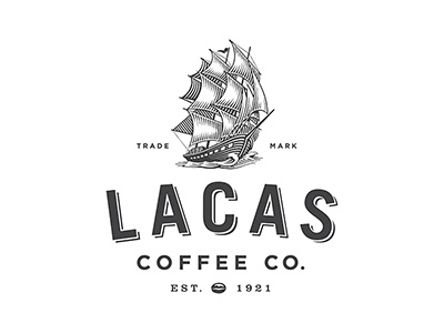 Lacas Logo branding woodcut ship roger xavier lacas coffee company scratchboard logo