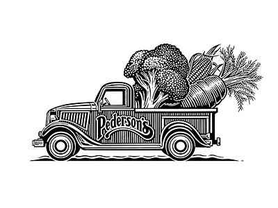 Left Field Logo branding woodcut pick-up truck vegetables roger xavier left field savory grains  greens scratchboard logo