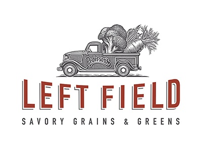 Left Field Logo branding woodcut pick-up truck vegetables roger xavier left field savory grains  greens scratchboard logo