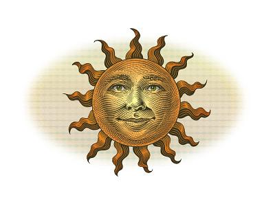 Sunface woodcut sun roger xavier sun face scratchboard