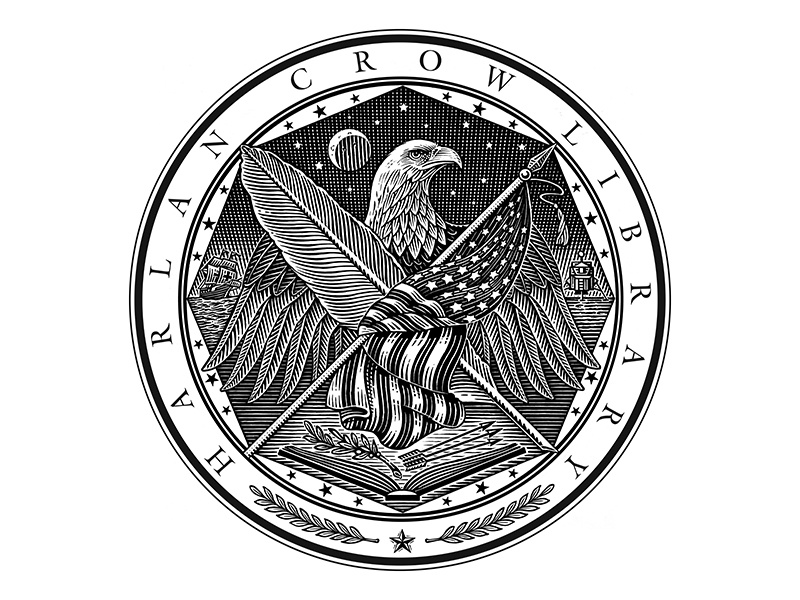 Harlan Crow Library Seal flag eagle illustration woodcut harlan crow library seal roger xavier scratchboard