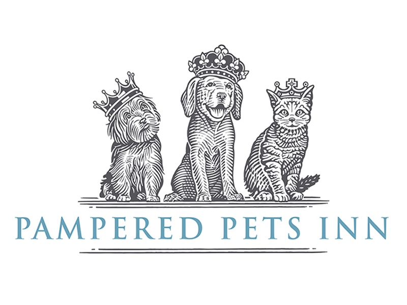 Pampered Pets Inn Logo woodcut pets cat puppy dog pampered pets inn dominos pizza scratchboard logo