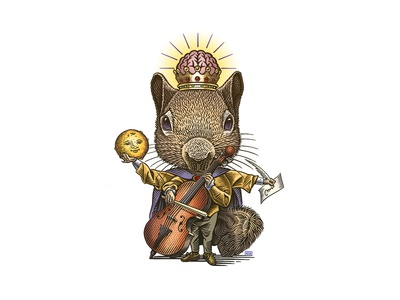 Sqiurus Rex anthropomorphixed squirrel illustration woodcut king of squirrels roger xavier scratchboard