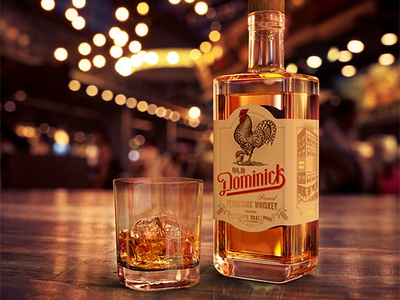 Old Dominick Distillery brand beverage woodcut packaging whiskey portrait rooster old dominick distillery dominos pizza scratchboard logo