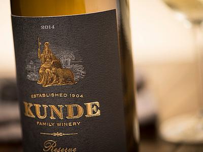 Kunde Reserve Wine Label athena packaging bear california state seal illustration woodcut wine label roger xavier scratchboard