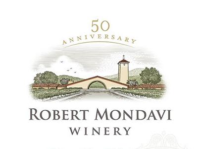 Robert Mondavi Winery Label etching woodcut roger xavier alcohol wine vineyard architecture robert monday wine label packaging scratchboard