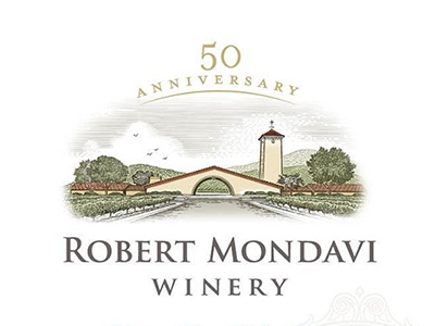 Robert Mondavi Winery Label etching woodcut roger xavier alcohol wine vineyard architecture robert monday wine label packaging scratchboard