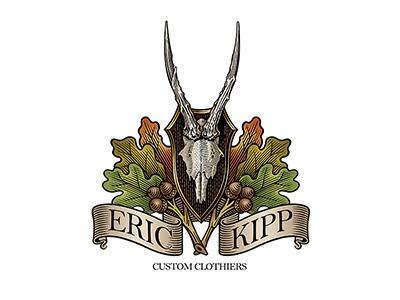 Eric Kipp Logo etching brand woodcut scratchboard logo