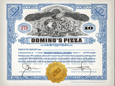 Domino's Pizza Rewards roger xavier stock certificate eagle bear pizza brand woodcut packaging dominos pizza scratchboard