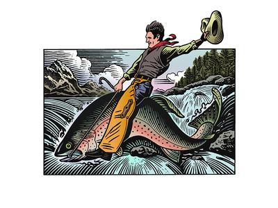 Gallatin River Lodge brand fish woodcut gallatin river lodge scratchboard logo