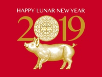 Lunar New Year year of the pig saks fifth avenue illustration roger xavier scratchboard