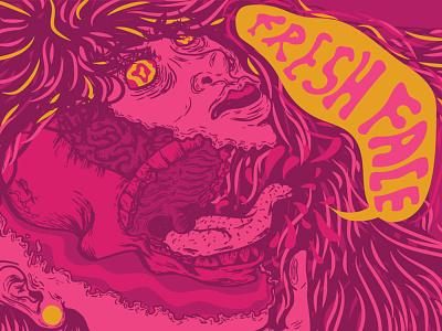 Fresh Face psychedelic art psychedelic hair fresh pink skull design illustration