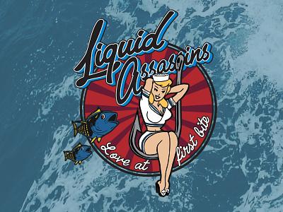 """Love at first bite"" - Liquid Assassins T-shirt type identity lettering typography hand drawn logo vector illustration design branding"