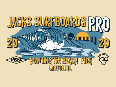Jacks Pro Surf Contest 2020 T-shirt illustrator action sports surf t shirt typography logo vector illustration design branding