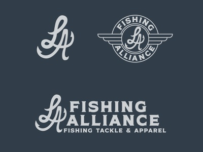LA Fishing Alliance Logos fishing t-shirt clothing t-shirt california fishing type lettering identity hand drawn typography logo vector illustration design branding