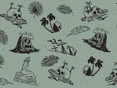 Shipwreck Island Pattern skulls pattern illustrator design hand drawn vector illustration