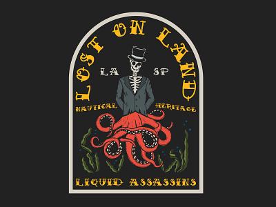 Lost on Land - Liquid Assassins Graphic apparel fishing t-shirt california illustrator lettering typography hand drawn vector branding illustration design