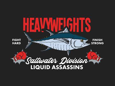Heavyweights - Liquid Assassins Graphic california apparel graphics illustrator fishing t-shirt apparel design lettering typography hand drawn vector branding illustration design