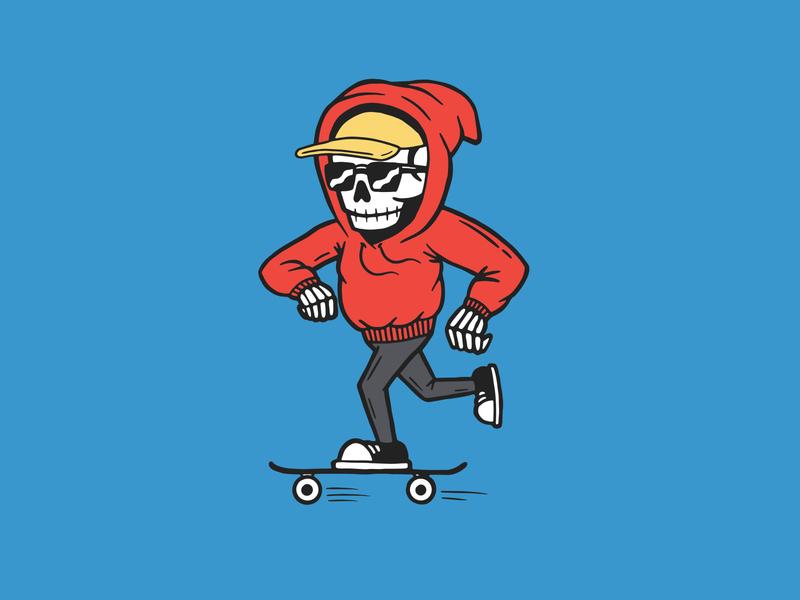 Skeleton Skater Dude apparel design action sports california illustrator vector adobe illustrator skateboard hand drawn illustration design