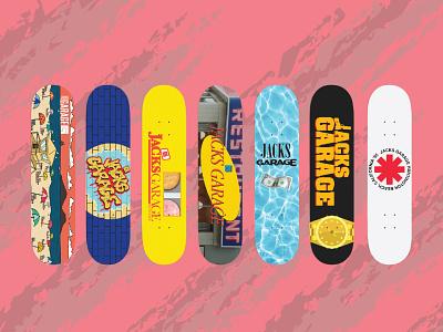 90's Inspired Skate Decks (Concepts only) - Garage Skate Shop action sports skateboard california illustrator lettering typography logo hand drawn vector illustration branding design