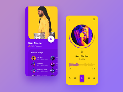 Music Player (Concept) clean ios app icon ui design mobile flat list songs song art album artist music ux ui