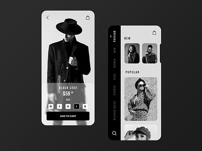Online Dress Catalog search menu bag cart clean iphone ios black  white size photo list glasses model dress black ux uiux ui app