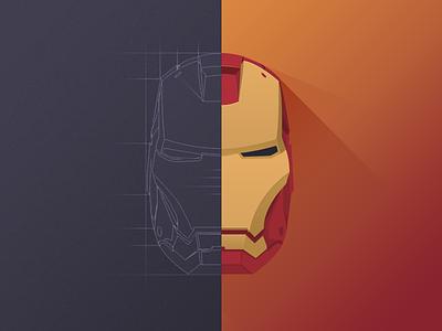 Iron Man Mask iron man icon hero flat shadow light sketch 1 2 3