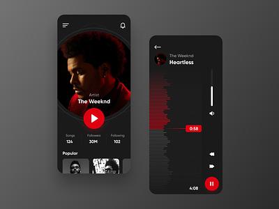 Music Player (Concept) icon shadow clean app design artist volume album song play music player dark uidesign ux ui ios music app