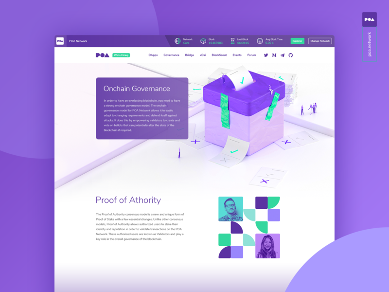 Poa Governance Page logo shadow animation governance network icons illistration art poa ethereum bitcoin crypto design dapp 3d app