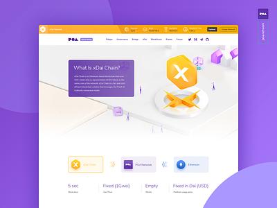 Poa Xdai Page ethereum crypto dai xdai poa animation web branding typography design illustration message logo icons ui clean shadow icon flat app