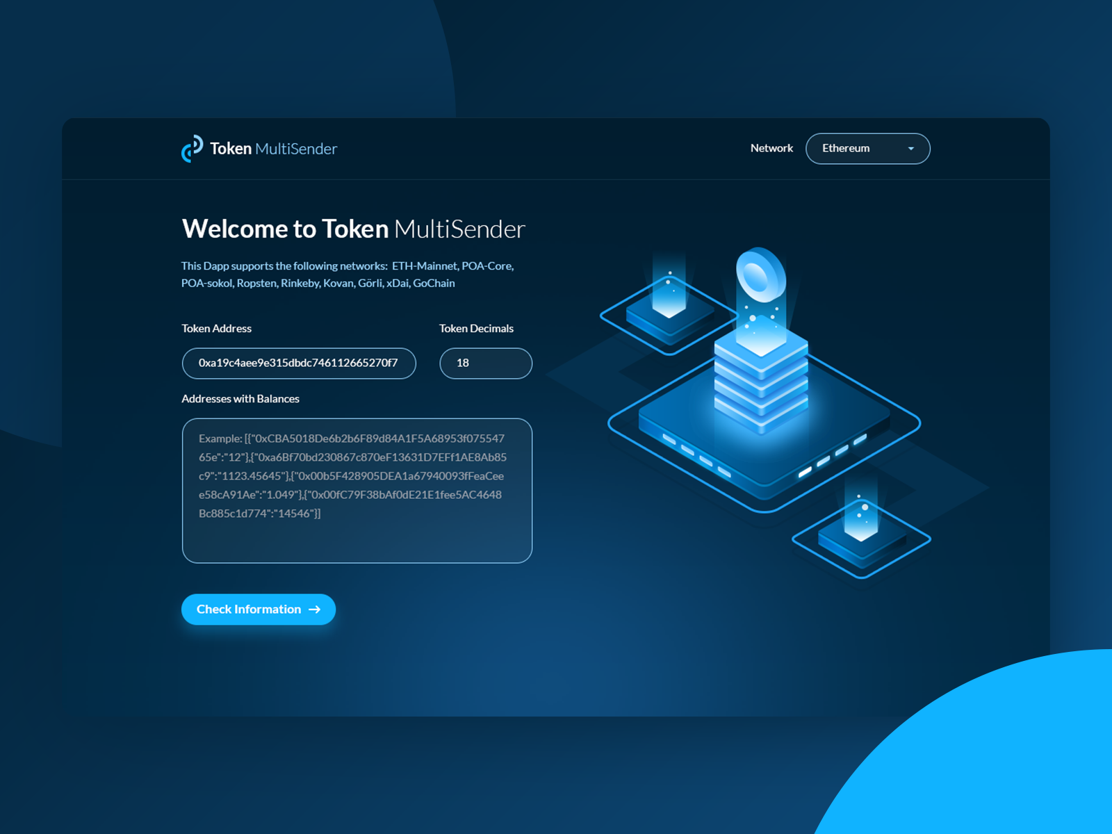 Tokenmultisender main page