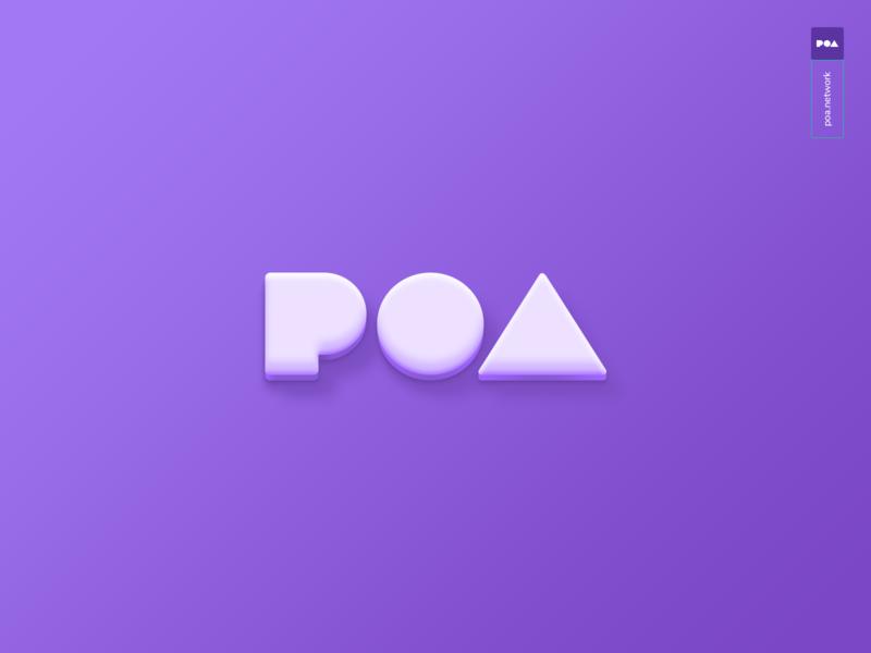 Poa Logo 3d type typography website web ui design branding illustration icons vector app flat logo alphabet shadow clean blockchain ethereum poa logo 3d logo