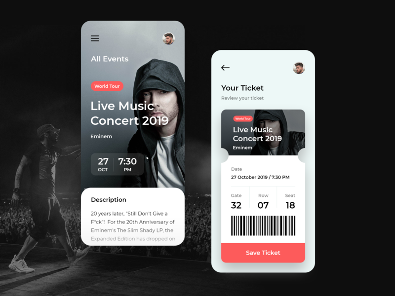 MyEvents App ticket music app event music shadow ipad ios icon iphone flat app