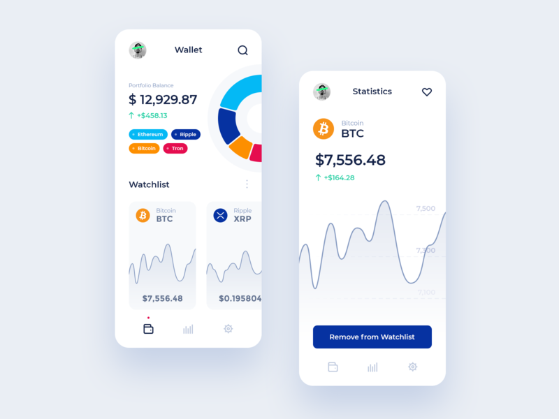 Cryptocurrency Wallet logo ui clean iphone ios icon flat app cryptocurrency ripple bitcoin ethereum crypto