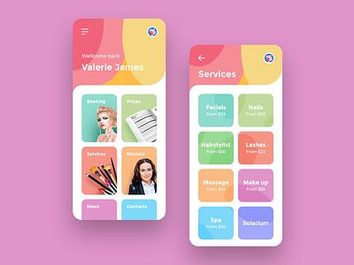 Beauty Salon App colors ux ui clean ipad iphone ios icon app design beauty app ui