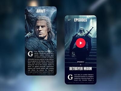 Witcher Mobile App (Concept) about player ux ui app episode video netflix geralt witcher